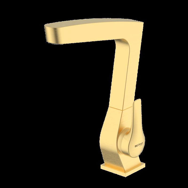Arsham Brushed gold single lever kitchen mixer