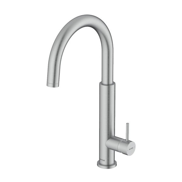 Nusha Brushed Chrome Single Lever Kitchen Mixer