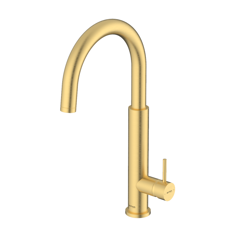 Nusha Brushed Gold Single Lever Kitchen Mixer
