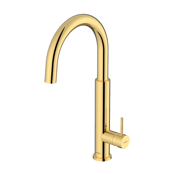 Nusha Shiny Gold Single Lever Kitchen Mixer