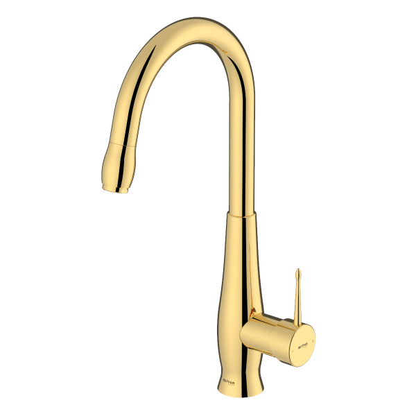 Artemis shiny gold single lever kitchen mixer