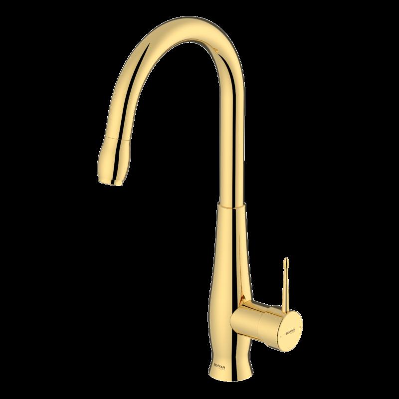Artemis shiny gold single lever kitchen mixer
