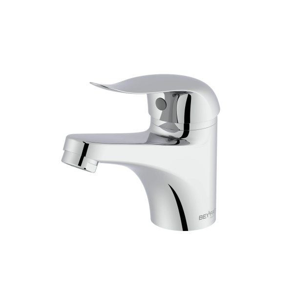 Maneli shiny chrome single lever basin mixer