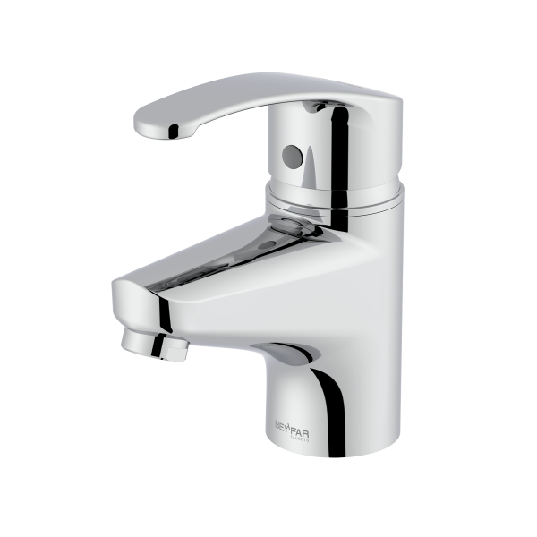 Arman shiny chrome single lever basin mixer