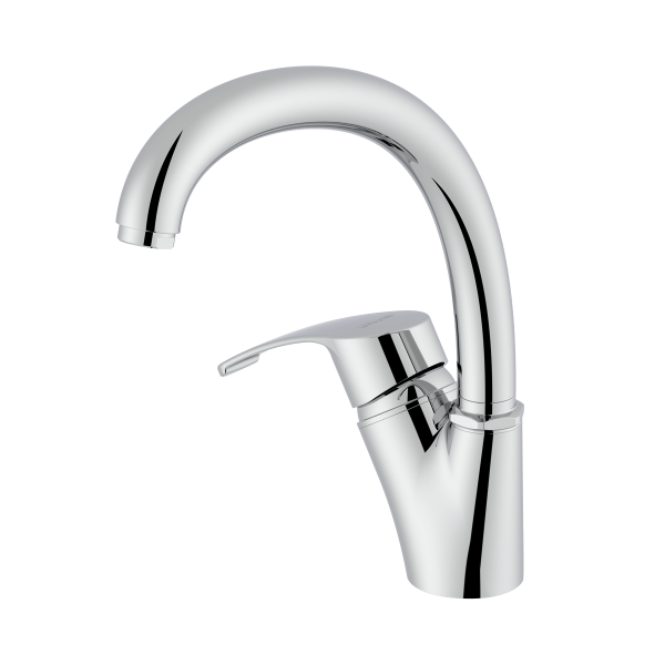 Arman shiny chrome single lever kitchen mixer