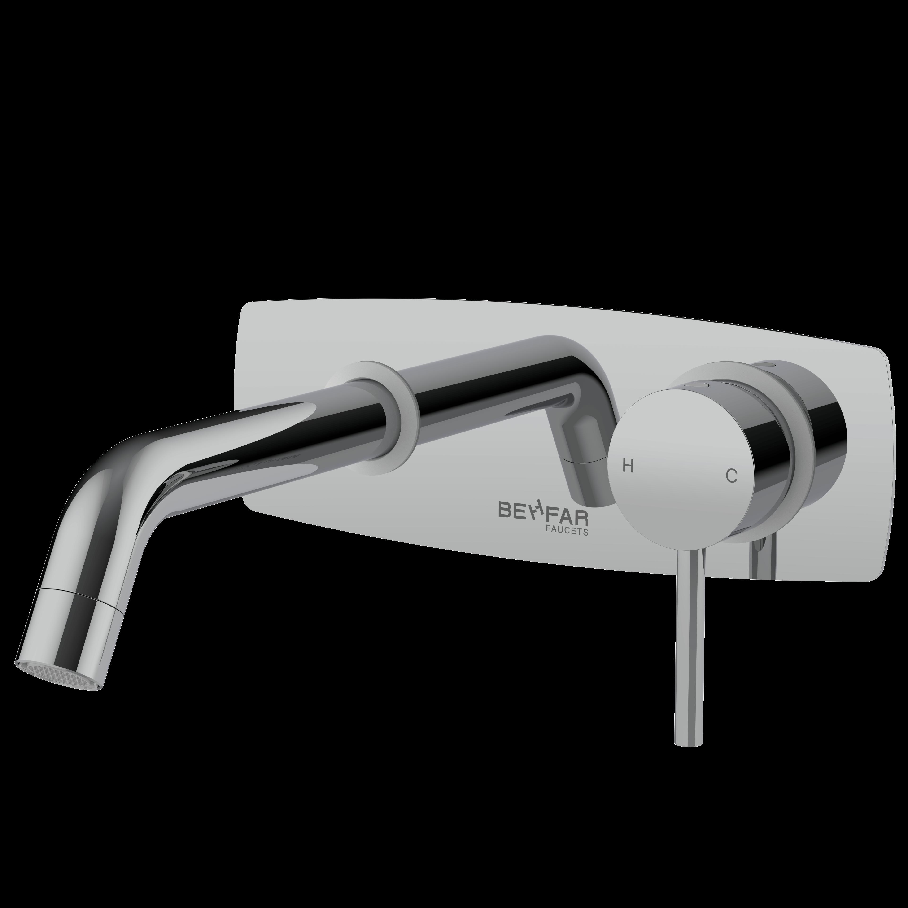 behfar shiny chrome basin concealed with bracket plate y