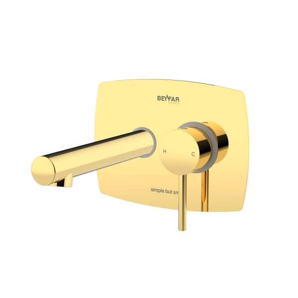 Behfar Shiny Gold Basin Concealed With Ibox Plate B