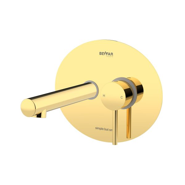 Behfar Shiny Gold Basin Concealed With Ibox Plate D